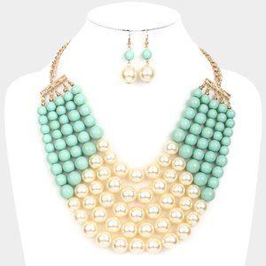 Cream&Mint Chunky Multi Strand Pearl Bib Necklace
